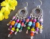 RESERVED Colorful Festival Hippie Earrings, Bohemian Chandelier Earrings, Gypsy Jewelry