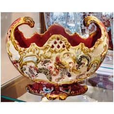 Antique Majolica Jardiniere Planter Art Nouveau Centerpiece GMK Grand Majolica Karlsruhe Grand Ducal Germany Circa 1904 1927 ($299) found on Polyvore featuring home and home decor