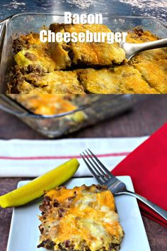 Easy Keto Low-Carb Bacon Cheeseburger Casserole is a simple ground beef recipe that resembles a hamburger pie! With only 2 grams of carbs, this dish is loaded up with creamy, melted cheese, cream chee Hamburger Meat Recipes, Hamburger Pie, Turkey Recipes, Low Carb Recipes, Cooking Recipes, Healthy Recipes, Sauce Recipes, Bacon Cheeseburger Casserole, Cheeseburger Meatloaf