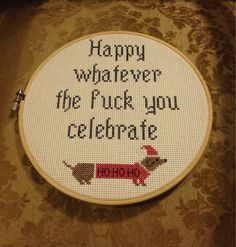 Funny awkward Christmas pics~ embroidery ~ Happy whatever the fuck you celebrate Cross Stitching, Cross Stitch Embroidery, Cross Stitch Patterns, Embroidery Patterns, Christmas Cross, Christmas Humor, Christmas Pics, Merry Christmas, Coastal Christmas