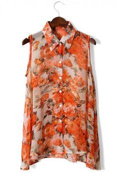 Floral Print Vest Chiffon Top $39.90  http://www.chicwish.com/floral-print-vest-chiffon-top.html   #Chicwish