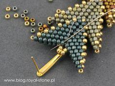 Dracconis – smocze kolczyki – tutorial   Royal-Stone blog Bead Jewellery, Bead Earrings, Beaded Necklace, Beaded Bracelets, Handmade Beaded Jewelry, Beaded Jewelry Patterns, Beading Patterns, Bead Crafts, Jewelry Crafts