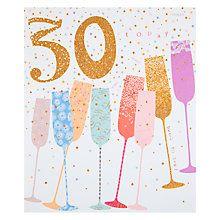 Buy Woodmansterne Champagne Flutes 30th Birthday Card Online at johnlewis.com