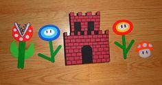 Mario Bros. crafts for my kiddo. Pirahna plant, freeze flower, castle, fire flower, mushroom