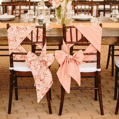 Unique way to tie chair ties. Coral and White Chair Ties // photo: Amanda Forbes photography // Chair Ties, Chair Sashes, Wedding Chair Decorations, Wedding Chairs, Wedding Reception, Reception Ideas, Deco Table, Chair Covers, Wedding Website