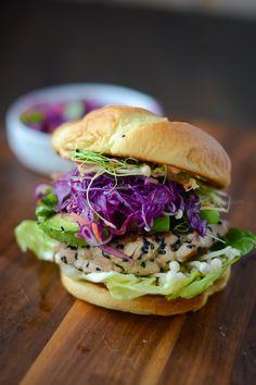 Ahi tuna burger with sriracha mayo....mmm!
