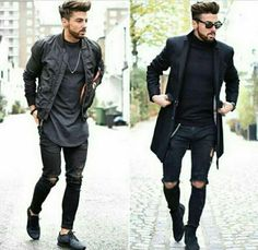 Black Ripped Jeans Outfit, Black Turtleneck Outfit, Black Outfit Men, Stylish Men, Men Casual, Vintage Street Fashion, New Mens Fashion, Well Dressed Men, Mens Clothing Styles