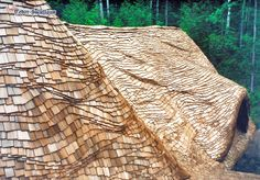 Staggered Cedar Shingle Roof installed with medium-heavy wave coursing, and using steam-bent cedar shingles. Architectural Shingles Roof, Roof Edge, Cedar Roof, Tuscan Style Homes, Timber Roof, Cedar Shakes, Roof Cleaning, Storybook Cottage, Storybook Homes