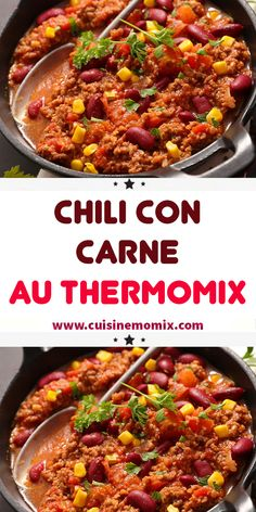 Chili con carne au Thermomix - Famous Last Words Chile, Soup, Sauce Tomate, Beef, Cooking, Robot, Chile Recipe, Kidney Beans, Chili
