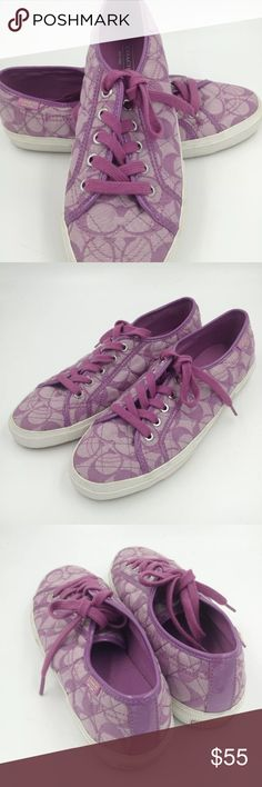 New COACH  KALYN Monogram sneakers 9.5 NEW without Box COACH  KALYN  low top fashion sneakers in signature monogram   Color: LAVENDER   The Coach Kalyn Athletic feature a Canvas upper with a Round Toe. The Rubber outsole lends lasting traction and wear.  Pictures show the actual shoes/sneakers  Features:  Coach signature fabric upper in classic low top fashion sneaker style  Fabric lined  Fabric cushioned insole with logo detail  Rubber outsole with horizontal grooves and logo   US women's 9…
