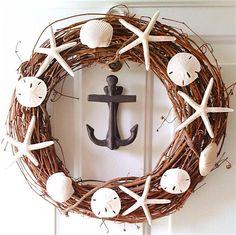 how to make a DIY seashell wreath, nautical wreath, beach wreath