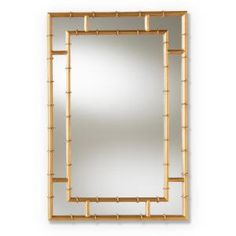 Baxton Studio Adra L x W Gold Framed Wall Mirror at Lowe's. Transform your space with the stunning bamboo-inspired Adra wall mirror. The Adra features a rectangular mirror flanked by mirrored panels and framed by Bamboo Mirror, Bamboo Wall, Gold Frame Wall, Frames On Wall, Framed Wall, Wall Art, Fashion Kids, Mirror Panels, Baxton Studio