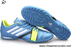Latest Listing Adidas Nitrocharge 1.0 TRX TF Cleats - Spar Blue White Light Green New Soccer Shoes 2013 Soccer Boots On Sale