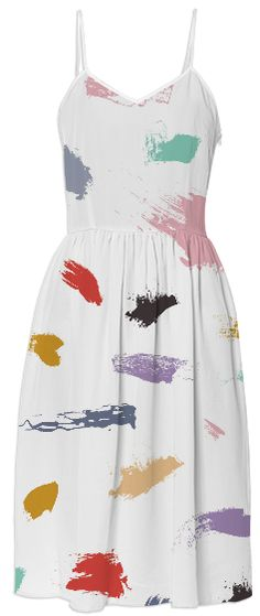 Multicolor Paint Swatch Artist Brushstroke Novelty Print Dress.