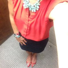 Getting mileage out of this coral top, and living with mint/turquoise. With denim skirt, floral flats, mint necklace.