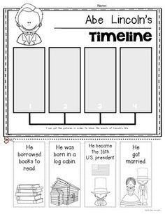 Washington and Lincoln (SIMPLE) timelines for Kindergarten and First Grade. Perfect for Presidents' Day. $