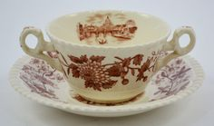 Copy of Vintage Spode Aster Brown Transferware Dual Handled Bouillon Bowl & Plate Copeland Beverley Italian Countryside
