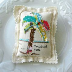 Fabric palm tree coastal Christmas ornament. Sachet. $8.50