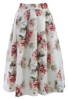 Blooming Rose Spring Cruise Midi Skirt by: Chicwish