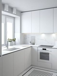 minimalist kitchen All white kitchen inspiration, with fingerpull doors and drawers Home Decor Kitchen, Interior Design Kitchen, Apartment Kitchen, White Kitchen Interior, Apartment Interior, Kitchen Living, White Glossy Kitchen, Apartment Ideas, Home Design