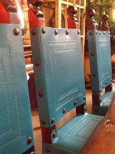 A detail photo of our latest chair addition. Love, Love the turquoise color!