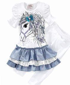 Beautees Kids Set, Little Girls Horse Tutu Dress with Capri Legging Set - Kids - Macy's