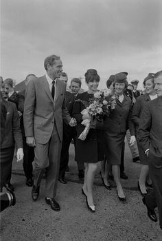The actress Audrey Hepburn photographed with her husband Mel Ferrer during their arrival at Schiphol Airport in Amsterdam (Netherlands), on October 06, 1966.