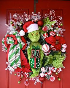 Grinch Christmas Wreath with Peppermint lights, by IrishGirlsWreaths on Etsy
