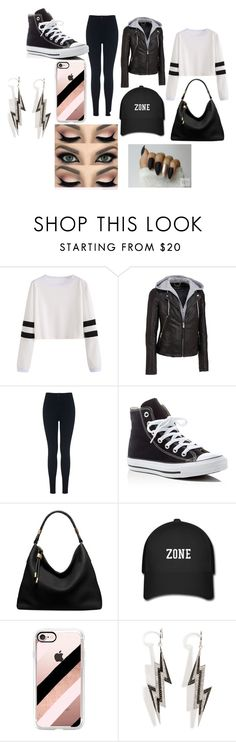 """""""Black Lazy Day"""" by loverofclothes-444 on Polyvore featuring Wilsons Leather, Miss Selfridge, Converse, Michael Kors, Casetify and Lynn Ban"""