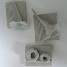 These sculptural tiles  just came out of the gas kiln this week. I love them!