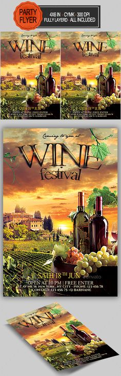 Wine Flyer  — PSD Template #wine flyer #event • Download ➝ https://graphicriver.net/item/wine-flyer/18015475?ref=pxcr