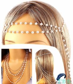"""Gold/pearl multi usage head & hair chain  • 18"""" long  • 18"""" long if worn as necklace  • adjustable lobster claw  • multi layered www.FreedomBirdBoutique.StoreNvy.com"""