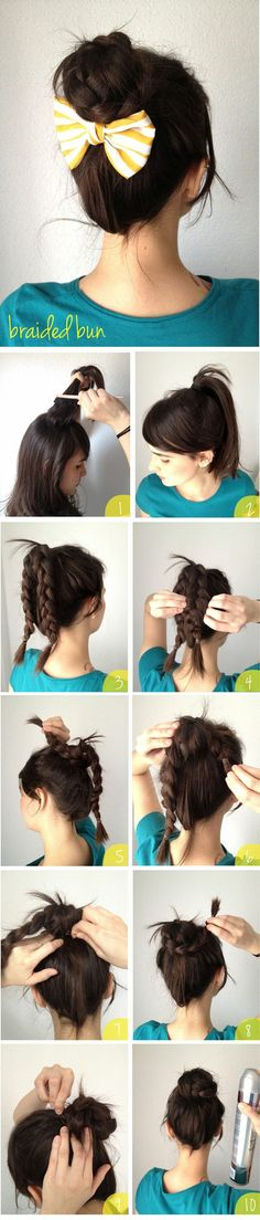 Braided bun...use flexi instead of a bow to finish it off or use you pins/bobbi pins to add accents to the bun.