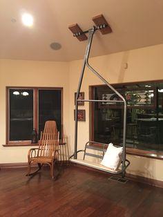 Guess I need to put my ski chair in my cabin! Ski Lift Chair, Ski Bar, St Anton, Ski Lodge Decor, Big Bear Cabin, Lift Design, Basement Bar Designs, Mountain Decor, Swinging Chair