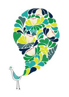 Large 13 x 19 / A Little Flower Bird Print / Blue and Green