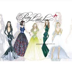 """Pretty Little Liars on Instagram: """"Simply stunning sketches of the liars' prom dresses from tonight's episode. #PLL #Regram from @crimson_dementi4 #fanart"""""""