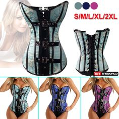 Sexy Gothic Metal Buckled Trainer Boned Steampunk Lace-Up Corset Bustier Xmas #EV #Buckles