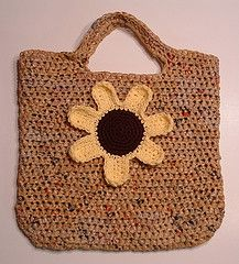 Tote made with recycled plastic bags or plarn.  Mine look a little different . . . but same idea
