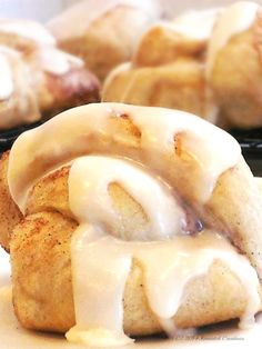 Cream cheese frosting on the Frosted Cinnamon Knot