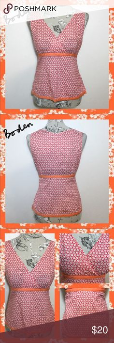 ~BODEN Floral🌼V-neck Empire Waist Sleeveless Top~ This Boden size 10 (Medium), fun, floral, crossover/V-neck top is cute & versatile, for work and/or play! •Sleeveless •Wrap/V-neckline •Empire Waist •Floral Pattern; Small Flowers •Orange; Red; & White •Ribbon-like Trim Detailing •Size Zipper •Small Side Slits @ Bottom Boden Tops