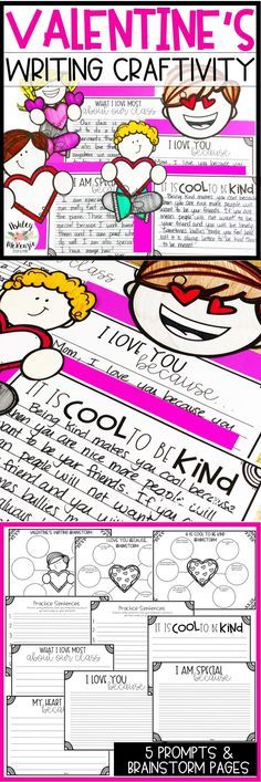 Valentine's Day Writing Craftivity. Great February writing activity for Valentine's Day. Includes toppers and valentine's writing prompts.