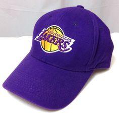fitted-size-7 LOS ANGELES LAKERS HAT Purple/Yellow Curved-Bill Vtg Twins Ent LA #TwinsEnterprisesInc #LosAngelesLakers