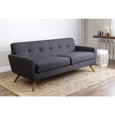 ABBYSON LIVING Bradley Grey Tufted Fabric Sofa   Living Room/ Family Room