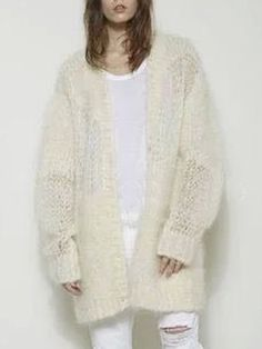 Beige Cut Out Sleeve Fluffy Mohair Cardigan