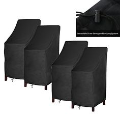 4 Set Outdoor Patio furniture Cover, Bar Chair/Stool Cover, Stackable Chairs Cover(4 Pack with Lock Hole) *** Check out this great product. (This is an affiliate link) #PatioFurniture