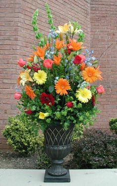 Large Arrangement with Yellow and Orange Gerber Dasies; Red, Yellow and Orange Lilies; Pink and Red Roses
