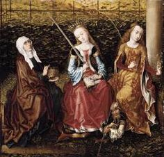 St Catherine of Alexandria with St Elizabeth of Hungary and St Dorothy | Master of the View of Ste Gudule | c.1480 Flemish
