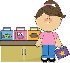 Girl Lunch Box Monitor Clip Art - Girl Lunch Box Monitor Vector Image