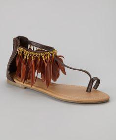 Feather Trim T-Strap Sandal