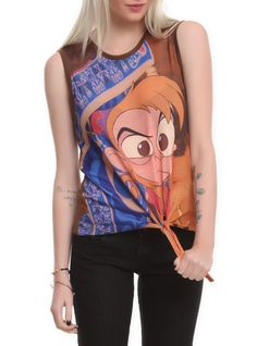 Sleeveless tie front T-shirt top from Disney's Aladdin with angry Abu design on front.